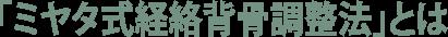 「ミヤタ式経絡背骨調整法」とは